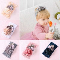 yapay tüysüz çiçekler toptan satış-Bebek Kız Çiçek Bantlar Sevimli Prenses Saç Bandı Ipek Yapay Çiçek Dikiş Çocuk Çocuk Saç Aksesuarları HHA632