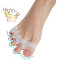 ingrosso piede piedi protettore-5 fori in silicone pedicure cura del piede strumento di pedicure per le gambe divisore dito separatore pollice bunion alluce valgo protettore