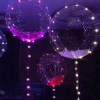 balões de anos novos venda por atacado-2018 Ano Novo Decoração de Natal de 24 polegadas Levou Balões Luminosos Rodada Balão Bobo Balão Para Decoração de Festa de Casamento