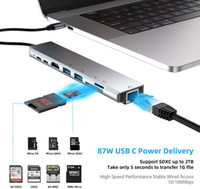Wholesale computer converters resale online - 8 in Type C To HDMI Hub RJ45 Type C Network Card Docking Station Hub Card Reader Audio Video Converter Computer External Accessories