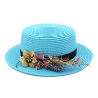 матросская лента оптовых-Женская модная соломенная шляпка для лодок Летний пляж Sun Sailor Ladies Bowler с плоским верхом Cap Цветочная лента 3