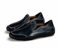 случайные чернокожие мужчины бездельники оптовых-Мужские мокасины Мокасины Slip On Кожа Натуральная кожа Повседневная обувь Мужские кроссовки Black Flats