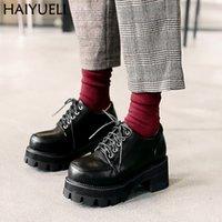 botines negros con cordones al por mayor-Botas para mujer Tobillo para mujer Tacones altos Estilo Punk Zapatos de plataforma Negro Lace Up Vintage Shoes 5.5 cm Botines de tacón alto