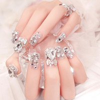 Wholesale glue for false art nails for sale - Group buy False Nails Diamond Jewelry for Bride Wedding D Nail Art Manicure Rhinestones Decoration Fake Nails Tips with Nail Glue