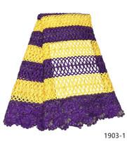 patio de encaje amarillo al por mayor-Preciosa tela de encaje de guipur africano cordón de cordón de guipur africano cordones de cordón amarillo para la fiesta nigeriana 5 yardas para mujeres 1903