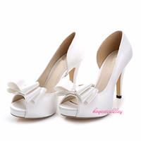 sandalia de baile de boda de marfil al por mayor-Al por mayor-WS23 blanco / marfil satinado bombas fiesta zapatos de boda, zapatos de novia de baile