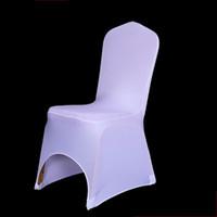 evrensel beyaz spandex düğün tezgahı kapakları toptan satış-100 ADET Otel Koltuk Sandalye Kapak Streç Elastik Evrensel Beyaz Spandex Düğün Sandalye Kapak Düğün Parti Ziyafet Otel Likra Sandalye kapak için