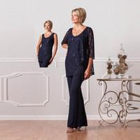 marineblau mütter kleid großhandel-2019 formale Hose Anzüge für Mütter Braut benutzerdefinierte Plus Size Mutter des Bräutigams Kleider Lace Womens Navy Blue Kleider Abend