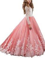 resmi uzun gelinlik elbiseleri toptan satış-Çiçek Kız 'Jewel Aplikler Uzun Kollu Pageant Elbise Kızlar Çiçek Elbiseler Nedime Elbisesi Çocuklar Elbise Örgün Düğün Durum