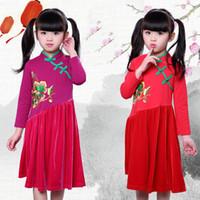 vestidos de terciopelo de china al por mayor-Venta al por menor marca de la marca cheongsam vestido de los niños de manga larga de terciopelo bordado vintage fiesta princesa vestidos de baile ropa de diseñador para niños