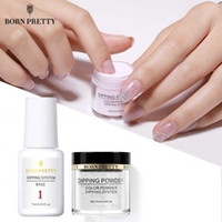 Wholesale french nail online - 6pcs Dipping Nail Powder Base Coat Gradient French Nail Natural Color Holographic Glitter Cure Art Decorations