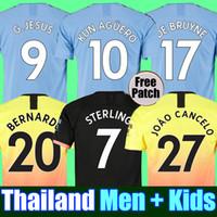 aguero hombre ciudad al por mayor-Tailandia RODRIGO 19 20 MANCHESTER CITY camiseta de fútbol G.JESUS DE BRUYNE KUN AGUERO camisetas 2019 2020 camiseta de fútbol KIT camiseta de KIT de adultos y niños