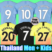 kit de camisetas de futbol al por mayor-Tailandia RODRIGO 19 20 MANCHESTER CITY camiseta de fútbol G.JESUS DE BRUYNE KUN AGUERO camisetas 2019 2020 camiseta de fútbol KIT camiseta de KIT de adultos y niños