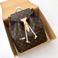 bolsa de lona de couro mochila venda por atacado-Original de alta qualidade das mulheres MONTSOURIS mochila Sperone mochila de couro Real DamierAzur lona Crossbody bag Moda Bolsas de Ombro