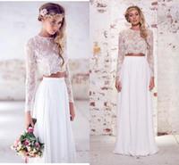 robes de mariée en deux pièces achat en gros de-Bohemia Beach Robes De Mariée En Mousseline De Soie Deux Pièces Manches Longues Dentelle Etage Longueur Etage Plage De Mariage De Mariée Robes BO7892