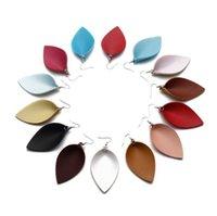 boucles d'oreilles pour 19 achat en gros de-19 couleurs feuille en forme de filles mode boucles d'oreilles vintage Bohème pu boucle d'oreille en cuir fille été accessoires cadeaux