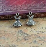 ingrosso ciondolo in bronzo-50 pz 22 * 15mm bronzo antico vestito tibetano gonna ragazza charms pendenti in metallo vintage fai da te collana braccialetto orecchino monili che fanno materiale