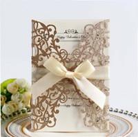 ingrosso inviti d'oro-New Rose Laser Cut Hollow Flower Gold Paillettes Inviti di nozze con carte di cristallo personalizzati Invito a nozze a buon mercato