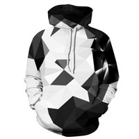 schwarzes weißes sweatshirt großhandel-Geometrischer Druck Männer Kapuzenpullover Schwarz und Weiß Mix Color lässig Pullover Hoodie Männer / Frauen Hoodies S-3XL