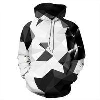 смешанные цветные толстовки оптовых-геометрическая печати мужчины капюшоном черный и белый Mix цвет случайные пуловеры толстовка Мужчины / Женщины толстовки S-3XL