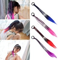 Wholesale rubber hair braiding resale online - Gradient Colorful Wig Ponytail Hair Ornament Kids Girls Wig Headband Rubber Bands Braided Hair Musical Pantomime Hair Accessories A122109