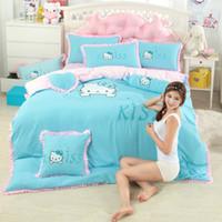 Wholesale modern girl bedding online - 2019 New Blue Hello Kitty Bed Skirt Bedding Set Women Girls Bed Linen Duvet Cover Set with Skirt Pillowcase Twin Full Queen King