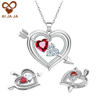 Wholesale customize chains resale online - Personalized Birthstone Heart Pendants Customized Sterling Silver Love Arrow engraving Charm Send Free Stainless Steel Chain