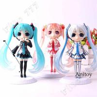 figuras de brinquedo miku venda por atacado-QPosket Q Posket Vocaloid Hatsune Miku Figura neve Miku Sakura Acção PVC Figuras Colecção Modelo Brinquedos