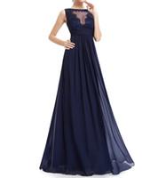 uzun şifon koyu lacivert elbise toptan satış-Koyu Lacivert Şifon Uzun Gelinlik Modelleri