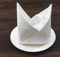 servilleta blanca al por mayor-50 cm * 50 cm Liso Blanco Servilleta de Algodón Hotel Restaurante Casa Servilletas de Tela Tela de la Boda Toalla de Cocina Toallas de mesa Paño GGA2131