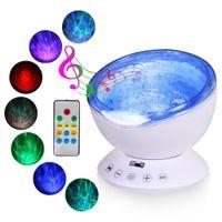 проекторы для детской комнаты оптовых-Ocean Wave Music Baby Night Light проектор встроенный в мини-музыкальный плеер лампа USB LED Night light для детской комнаты