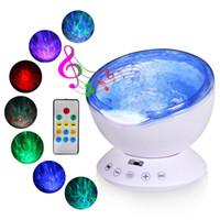 proyectores de luz de la habitación del bebé al por mayor-Ocean Wave Music Baby Night Proyector de luz Construido en Mini Reproductor de música Lámpara USB LED Luz nocturna para bebés Habitación para niños