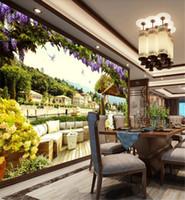 Wholesale modern italian decor resale online - Custom Photo d Wallpaper D Italian Seascape Landscape Wall Home Decor Living Room Wall Covering Wallpaper