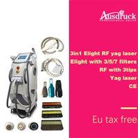 laser-haarentfernung ausrüstung großhandel-3 in 1 E Licht IPL-Haar-Abbau Yag Laser-Tätowierungs-Abbau Rf-Körpergesichts-Augenbehandlung Haut-Verjüngungsschönheitsausrüstung Maschine