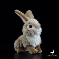 ingrosso bambino gioca animali selvatici-Baby Toys Soft Real Life Conigli bambola Peluche farcito Toy Brow Wild Rabbit Dolls Present Girls
