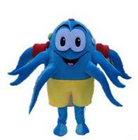 mascote real venda por atacado-Fotos reais azul polvo mascot costume mascote personagem de desenho animado traje adulto tamanho frete grátis