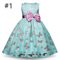 kelebek küçük kız elbiseleri toptan satış-Fantezi Kelebek Çocuklar Kız Düğün Çiçek Kız Elbise Prenses Parti Pageant Örgün Elbise Balo Küçük Bebek Kız Doğum Günü Elbise