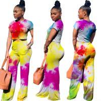 pintura de ropa al por mayor-Mujeres que pintan chándales de moda de verano tops cortos pantalones largos 2pcs Conjuntos de ropa Vestidos trajes deportivos