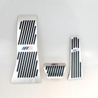 x5 pedler toptan satış-Hiçbir Matkap Gaz Fren Footrest Pedalı Plaka Pedi BMW X5 X6 Serisi E70 E71 E72 F15 AT Alüminyum alaşım gaz fren pedalı LHD AT M LOGO