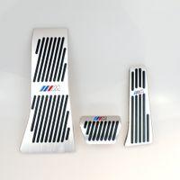 almohadillas x5 al por mayor-No hay taladro Reposapiés de freno de gas Pedal Almohadilla para BMW X5 X6 Serie E70 E71 E72 F15 AT Pedal de freno de aleación de aluminio LHD AT M LOGO