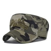 chapeaux de marines achat en gros de-2018 États-Unis US Marines Corps casquette USMC Camouflage chapeau plat haut chapeau hommes coton chapeau USA Navy chapeau brodé chapeaux # 17578