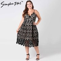 ingrosso grandi donne bianche sexy-Simplee Plus Plus Size Vintage Vintage Lace Lace Dress V Neck Dresse a vita alta Sexy Backless Midi Dress Vestidos Big Size Y19051102