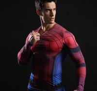 mallas de capitán américa al por mayor-uper héroe Superman camiseta de Batman Capitán América alta - bombardero corta - la manga medias de deporte de baloncesto juego de la aptitud del hombre