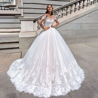 Wholesale new dream wedding dress resale online - Vintage Off the shoulder Wedding Dresses New Boat Neck Cap Sleeve Mariage Princess Dream A Line Bride Gown Vestido De Noiva Customized