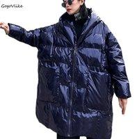 mavi kore ceketi toptan satış-mujer LT103S30 Abrigos Tasarım Kış Ceket Kadınlar Kore Ekose Moda Sıcak Parlak Blue Coat Kalın Dış Giyim İçin Kadınlar Plus Size