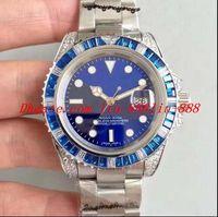 ver diamantes personalizados al por mayor-Luxury 116618 bp CUSTOM Blue DIAMOND / SAPPHIRE BEZEL W / FULL DIAMOND LUGS 2836 Reloj Steel Steel Date Luminous para hombre