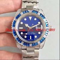 ingrosso guarda il diamante personalizzato-Luxury 116618 bp CUSTOM Blue DIAMOND / ZAFFIRO ZECCO W / FULL DIAMOND LUGS 2836 Movimento Steel Automatic Date Day da uomo Luminoso