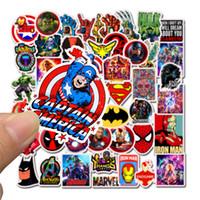 demir oyuncak arabalar toptan satış-50pcs / Lot Marvel Anime Klasik Çıkartma Oyuncak Laptop Kaykay Bagaj Çıkartması Dekor Komik Iron Man Örümcek Adam çıkartması için Çocuk Araba çıkartması için