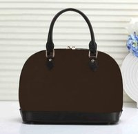 Wholesale bb reds for sale - Group buy Dropshipping ALMA BB shell bag women patent leather flower Embossed shoulder bags with lock crossbody bag handbags