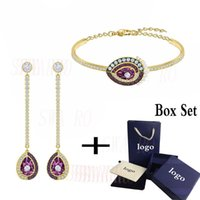 Wholesale best jewelry packaging resale online - Fashionable And Exquisite New BLACK BAROQUE Violet Crystal Bracelet Jewelry Package For Girlfriend Gorgeous Engagement Best Gift